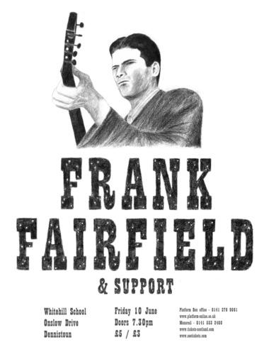 Frank Fairfield at Whitehill School (poster designed by Stuart White)