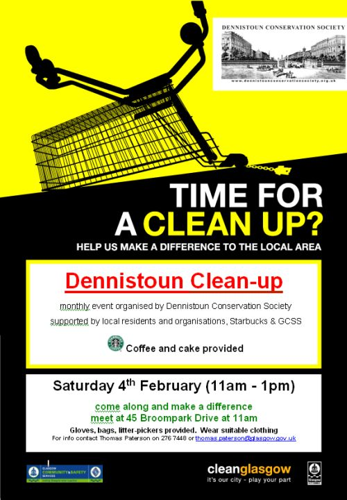 Dennistoun Community Clean Up Poster: February 2012