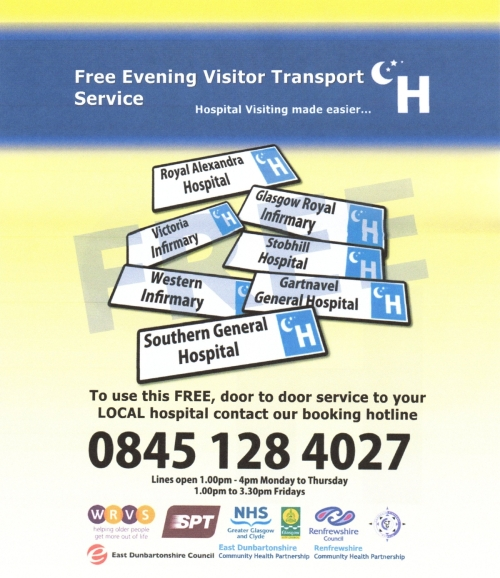 Free Evening Visitor Hospital Transport Poster