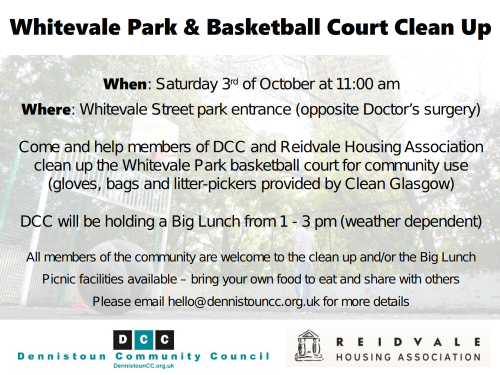 Whitevale Park and Basketball Court Cleanup Flyer