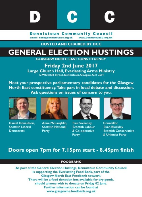 DCC General Election Hustings Poster (tap for full size PDF)
