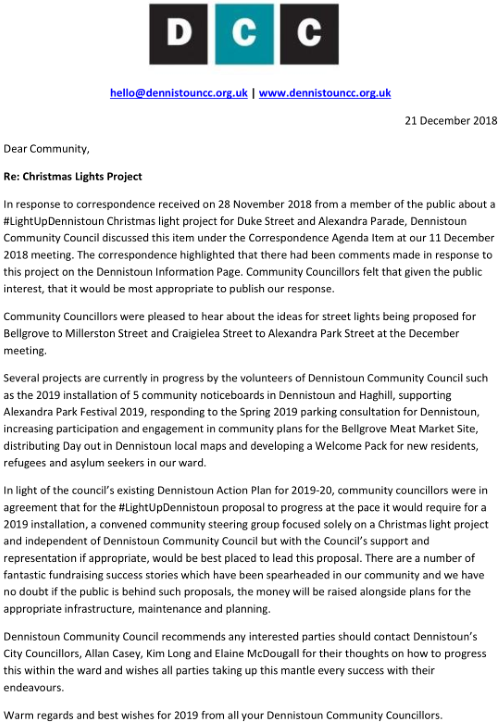 DCC Response to Christmas Lights Project Enquiry (click for PDF version)