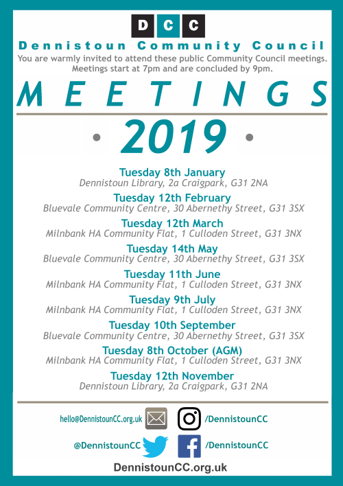 Dennistoun Community Council 2019 Meetings (click for PDF)