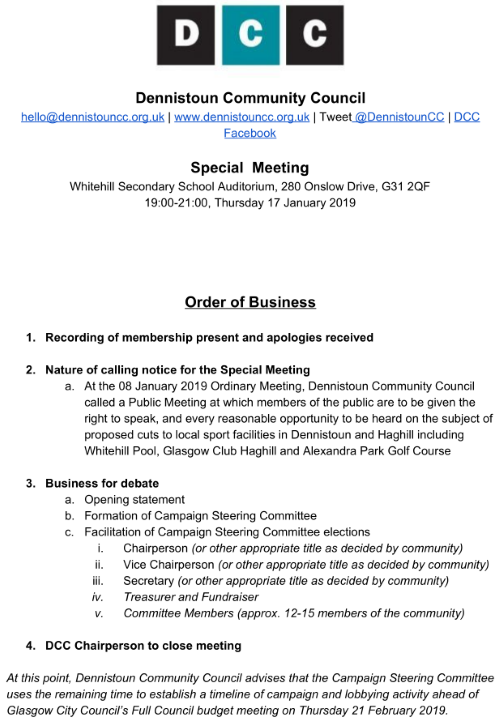 Special Meeting Order of Business 17th January 2019