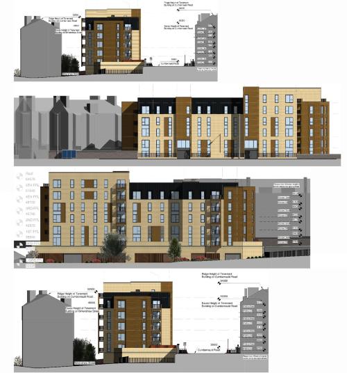 Birkenshaw Street Development - Proposed Elevations (top to bottom: NE, NW, SE, SW)