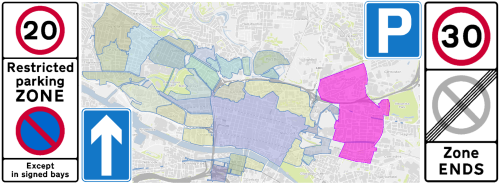 Dennistoun and Royston Restricted Parking Zone Proposal (shown in pink, compared to existing Glasgow RPZs)