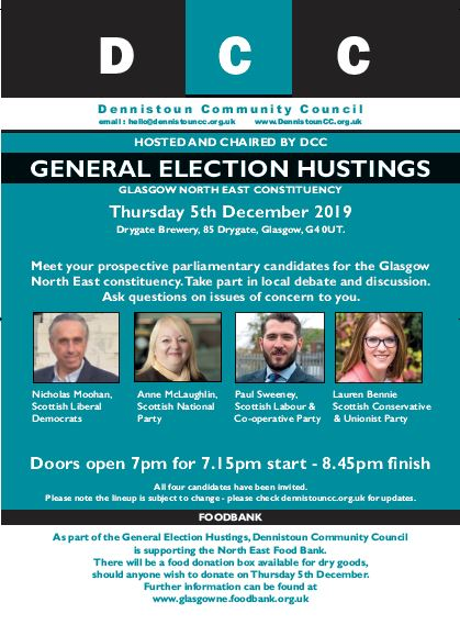 Dennistoun Community Council 2019 General Election Hustings
