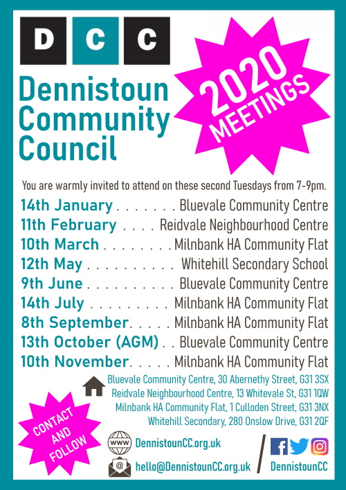 Dennistoun Community Council 2020 Meetings Poster