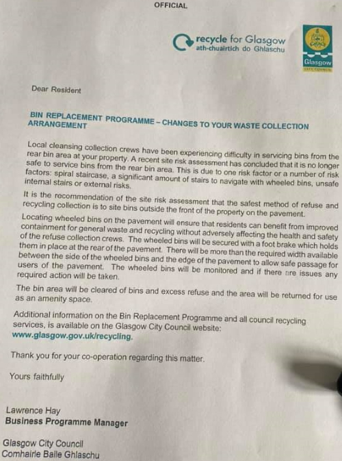 Bin Replacement Programme Letter