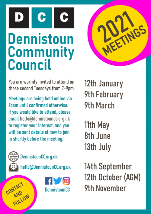 Dennistoun Community Council 2021 Meetings Poster