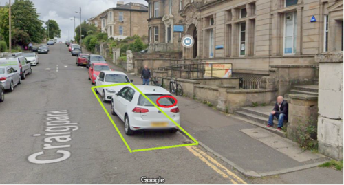 Location of EV charging point outside Dennistoun Library on Craigpark